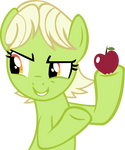 Young Granny Smith with an apple