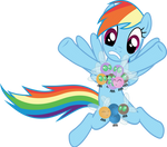 Rainbow Dash with Parasprites