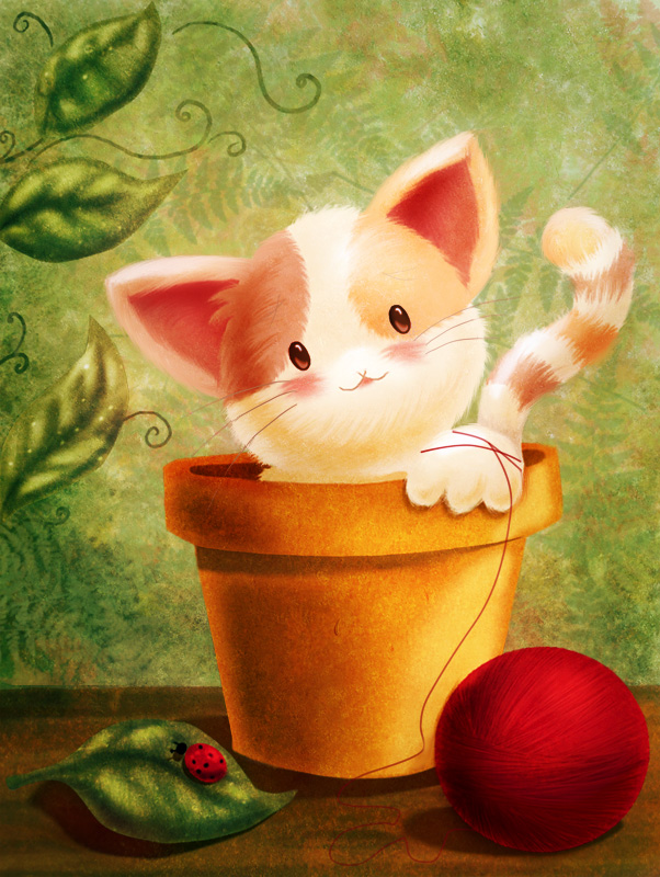 Kitty in a flowerpot by AliciaBel