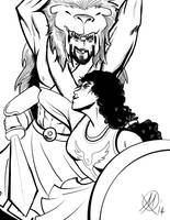 Greek Myths-Hercules and Hyppolita by Coyotzin