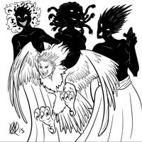 Greek Myths-Harpy and Erinyes by Coyotzin