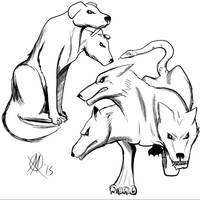 Greek Myths-Orthrus and Cerberus by Coyotzin