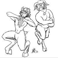 Greek Myths-Satyrs by Coyotzin