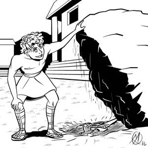 Greek Myths - Theseus - Theseus Lifts a Rock