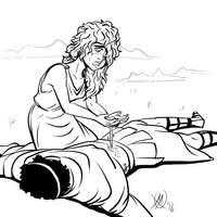 Greek Myths - Oedipus - Antigona Mourns by Coyotzin