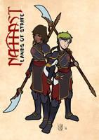 Behari and Niriko (in new Hawk Maiden gear) by Coyotzin