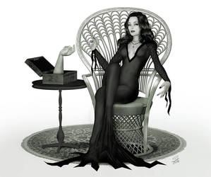 Morticia Adams Pin-Up by seanearley