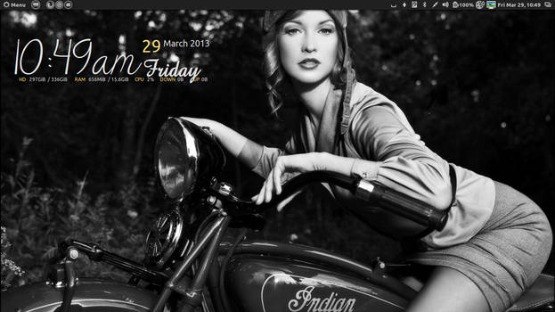 Classy woman on Indian Motorcycle black  white ,
