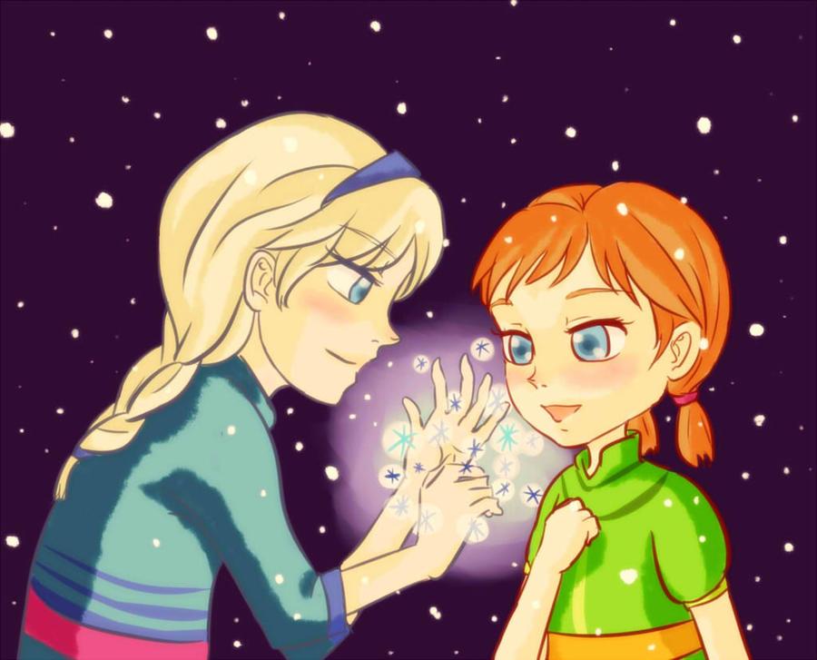 Frozen - Little Elsa and Anna by hirada-meirin