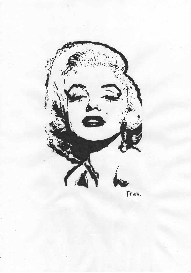 It is a graphic of Slobbery Marilyn Monroe Drawing Outline
