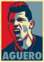 Sergio Aguero in Obama HOPE Style Poster