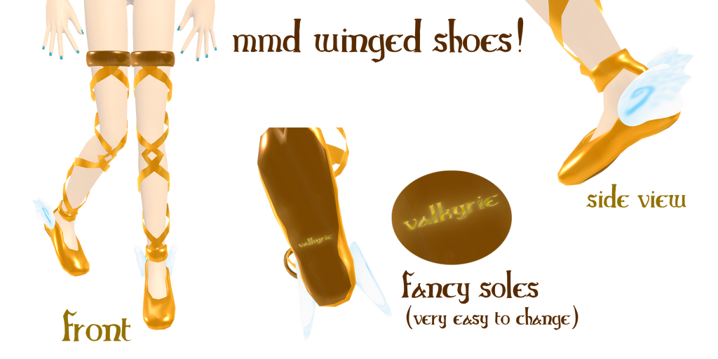mmd winged shoes by Tehrainbowllama