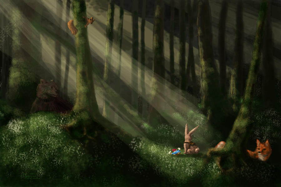 Flowers on the forest floor by Callego