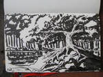 Pen Brush Sketch: Tree and Pond