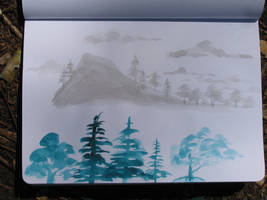 Tree Silhouettes Moleskine Sketch by Callego
