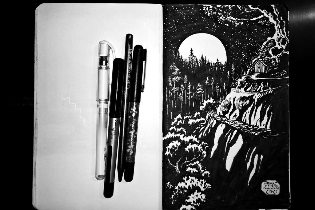 Inktober 10 15 16 Forest Home