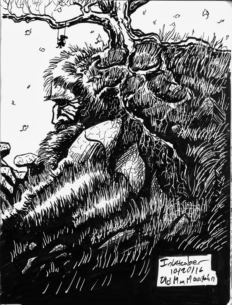 Inktober 10 20 16 Old Man Mountain by Callego
