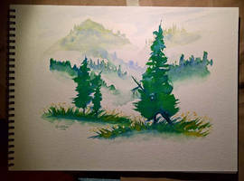 Watercolor Practice: Mountain Greens by Callego
