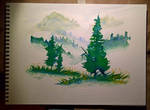 Watercolor Practice: Mountain Greens