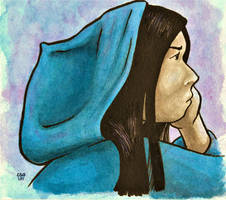 Girl in Blue Hoodie by Callego