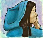 Girl in Blue Hoodie