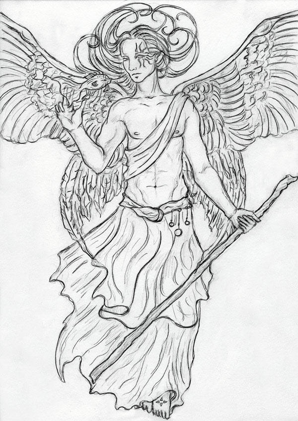 Archangel raphael by sjostrand on deviantart for Archangel michael coloring page