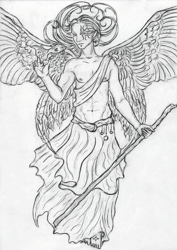 archangel raphael tattoo. Black Bedroom Furniture Sets. Home Design Ideas