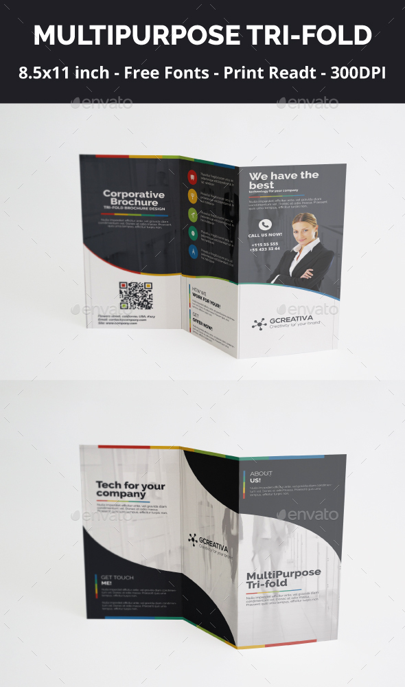 Corporative Trifold Design PSD by artgh