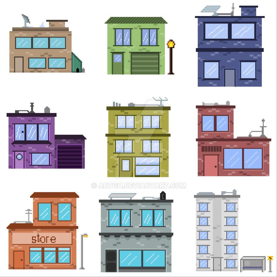 Pixel art buildings by artgh