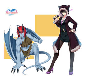 COMMISSION : Gargoyle and L.I.B (Lady in Black) by PinguinKotak