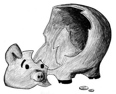 Tirelire cochon brisée
