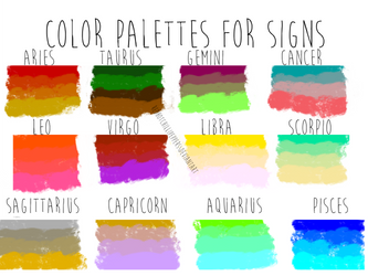 Color palettes for zodiac signs by RedHotChilliPeppers