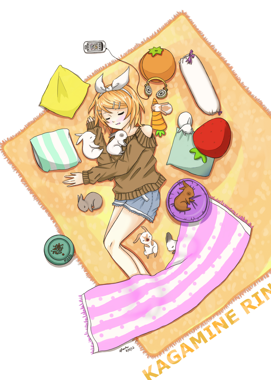 Kagamine Rin - Nap time with Bunnies by usarei