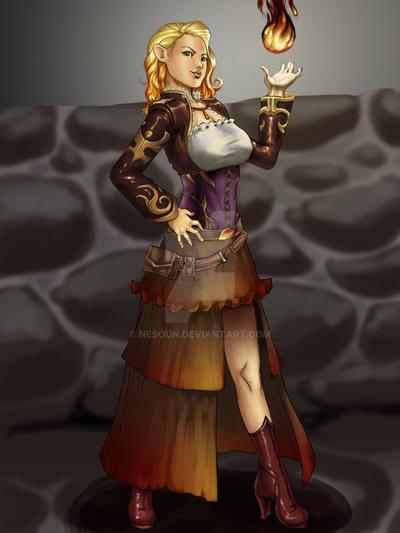 DnD_Halfling Sorceress by nesoun