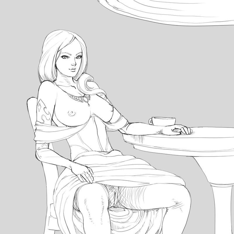 a lady offering tea by nesoun