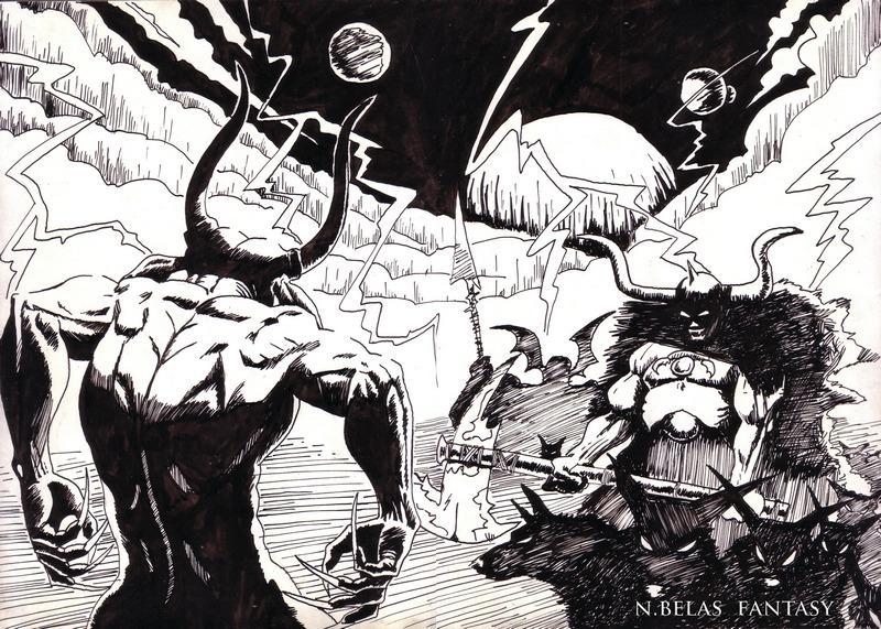 Demons fight by BelasFantasy