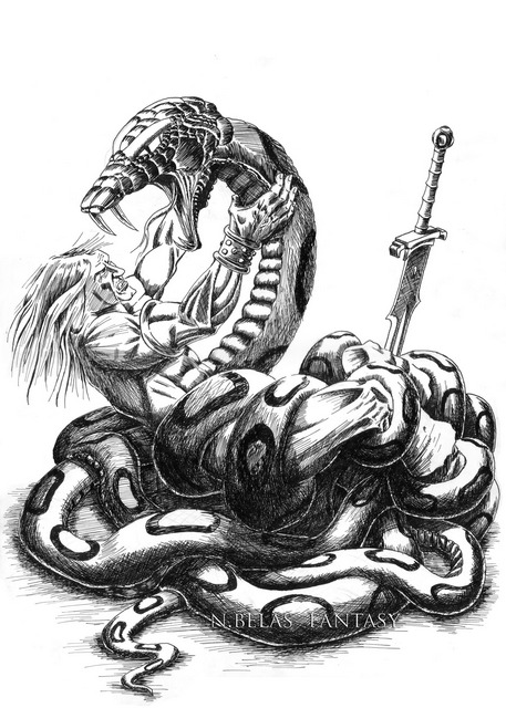 Conan the Barbarian - Giant Snake Fight by BelasFantasy
