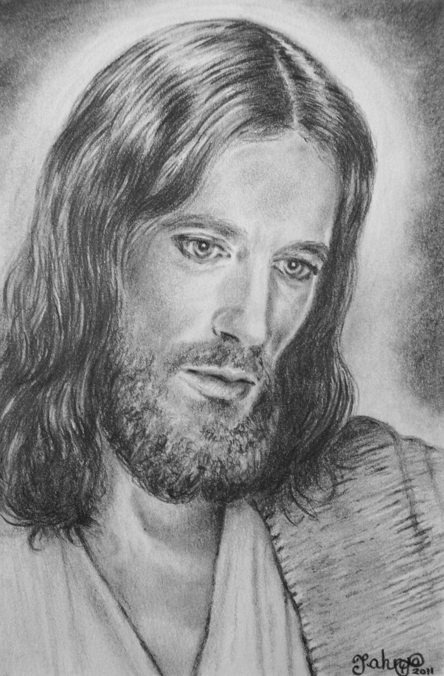 Line Drawing Jesus Face : I am the light by tahnja on deviantart