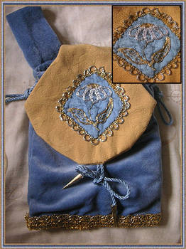 Blue medieval pouch