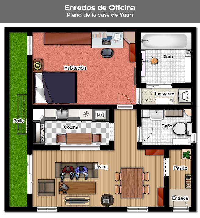 Enredos de oficina planos de la casa de yuuri by for Planos de oficinas