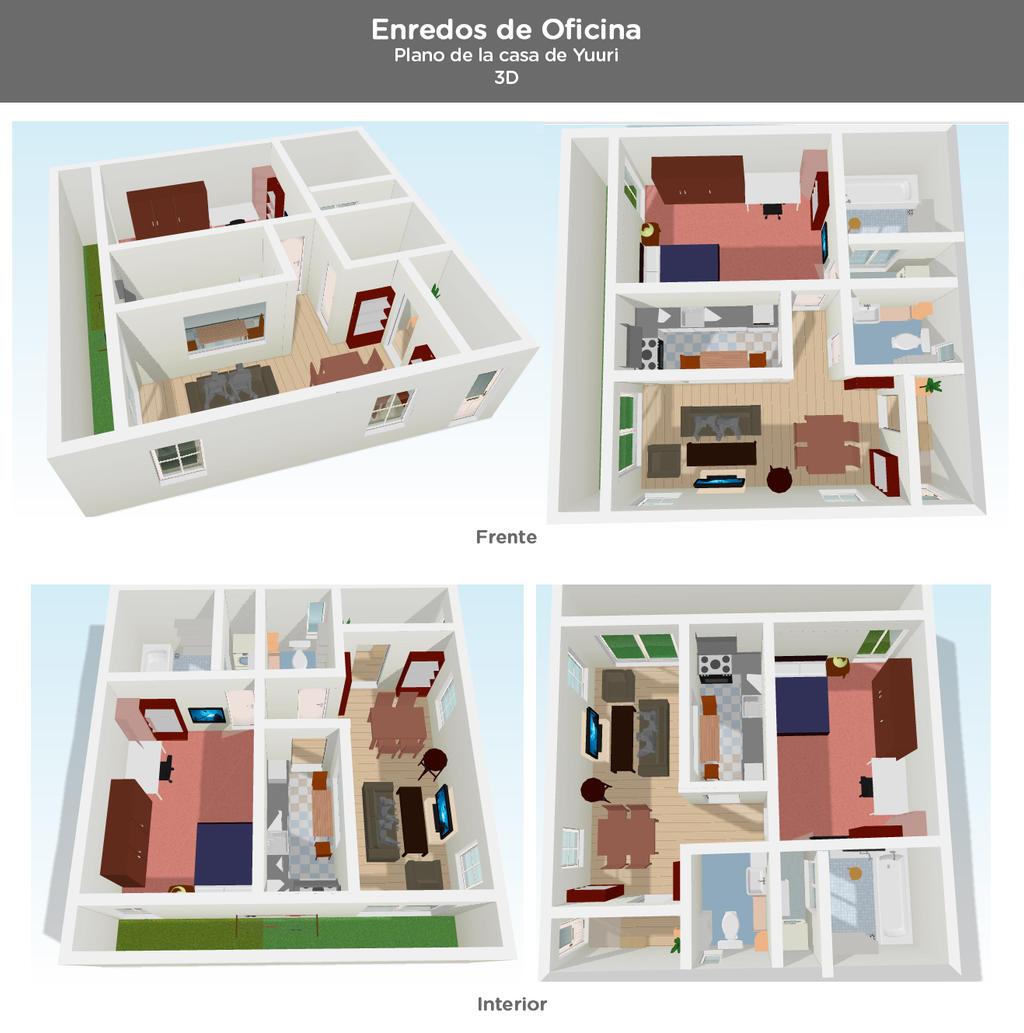 Enredos de oficina planos de la casa de yuuri 3d by for Plano de casa 3d
