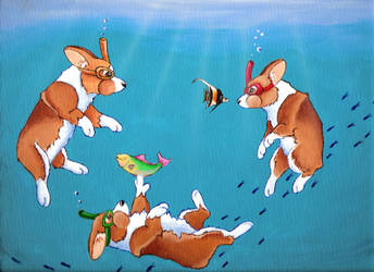 Snorkling Fun Corgis by Ashwin24