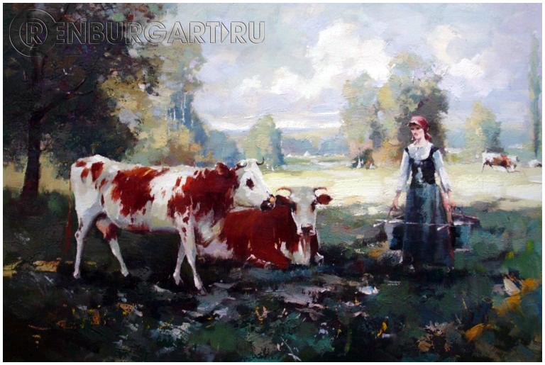 "Картина ""Коровы"", холст, масло"