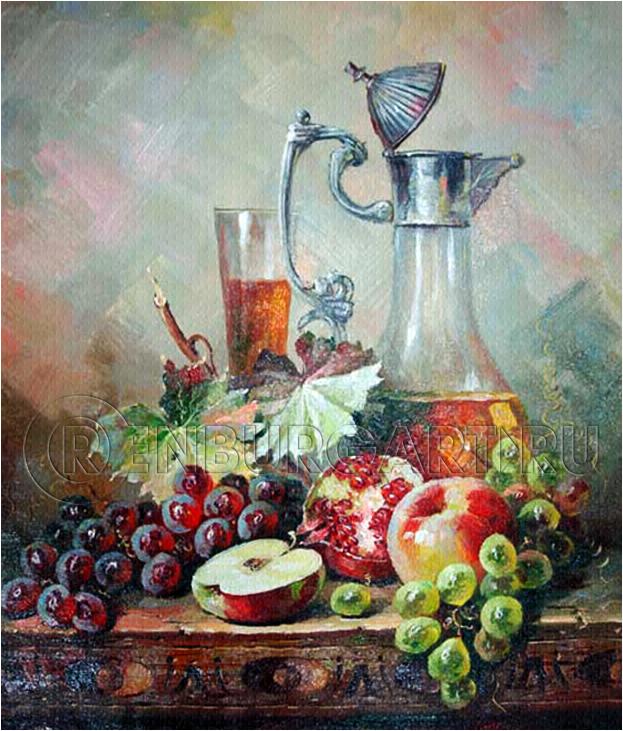 "Картина ""Кувшин и фрукты"", холст, масло"