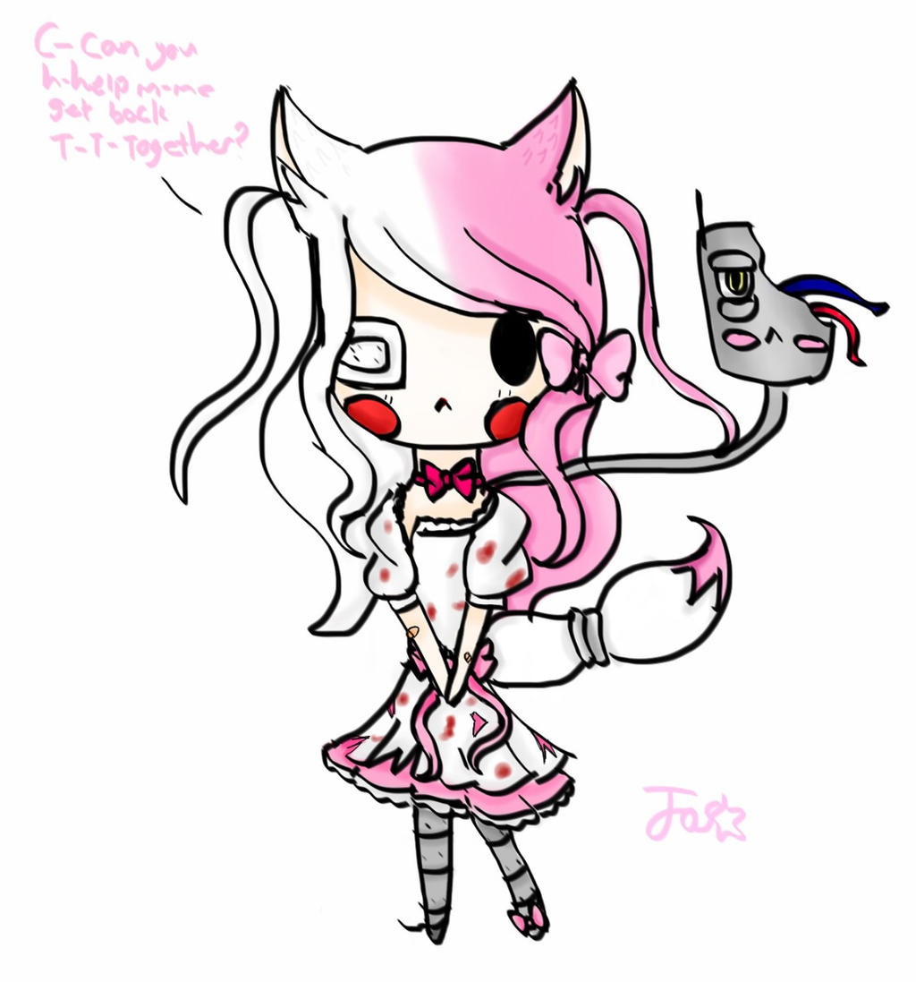 Mangle the sweet little fox Chibi by turquoise6102 on