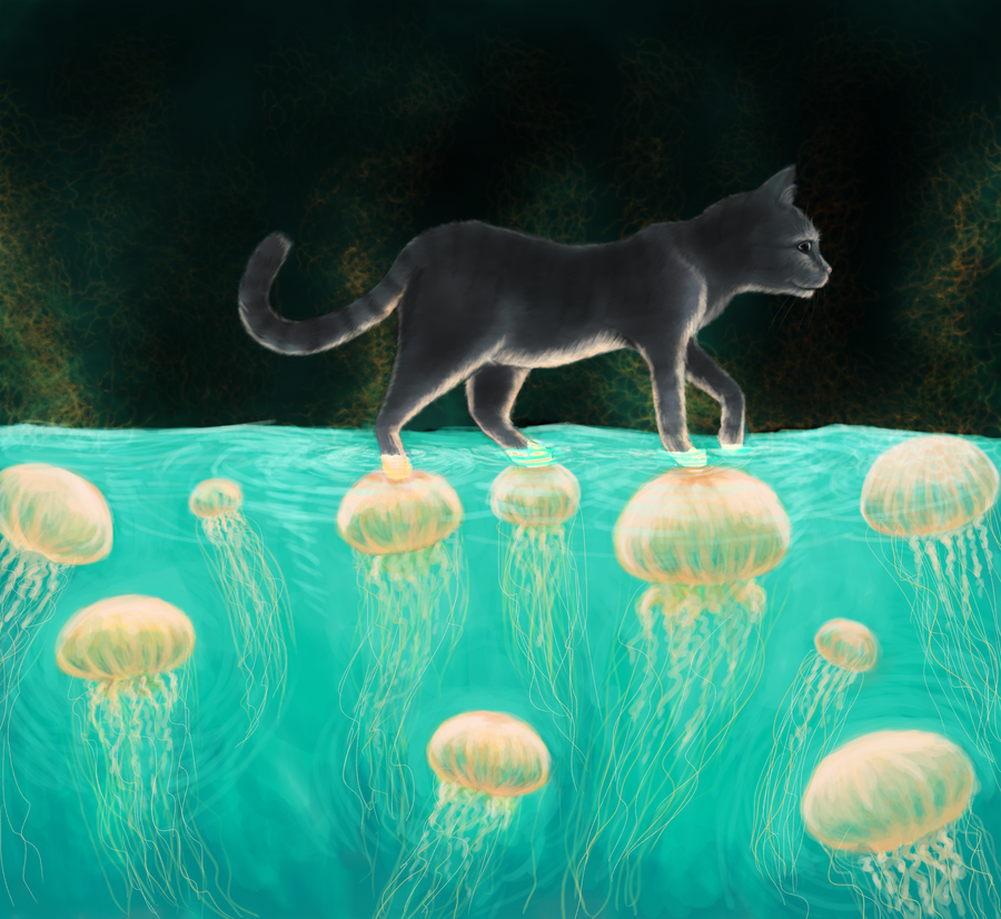 Cat and Jellyfish by TheCuddlyKoalaWhale