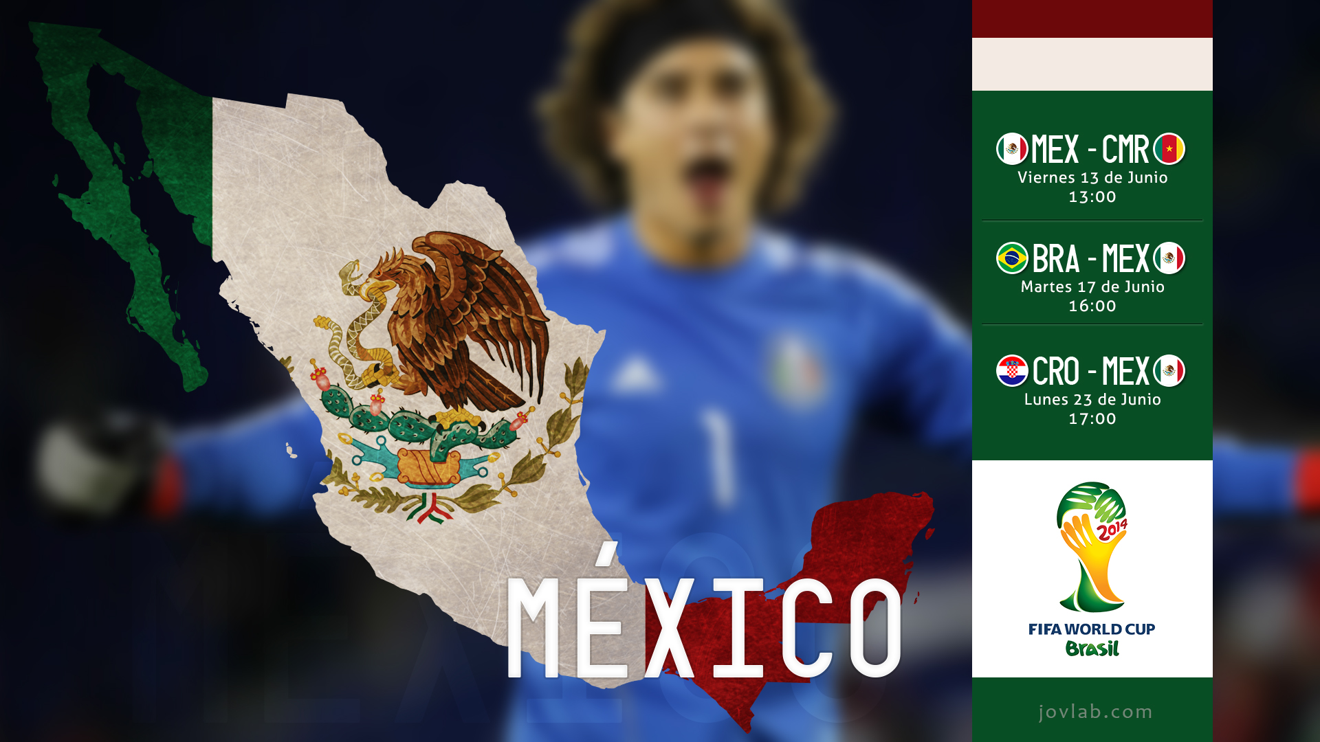 Wallpaper brasil 2014 mexico guillermo ochoa by jovlab - Guillermo ochoa wallpaper ...