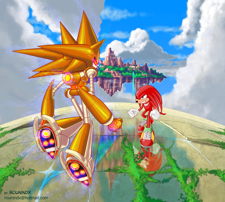 Mecha Sonic vs knuckles by rounindx
