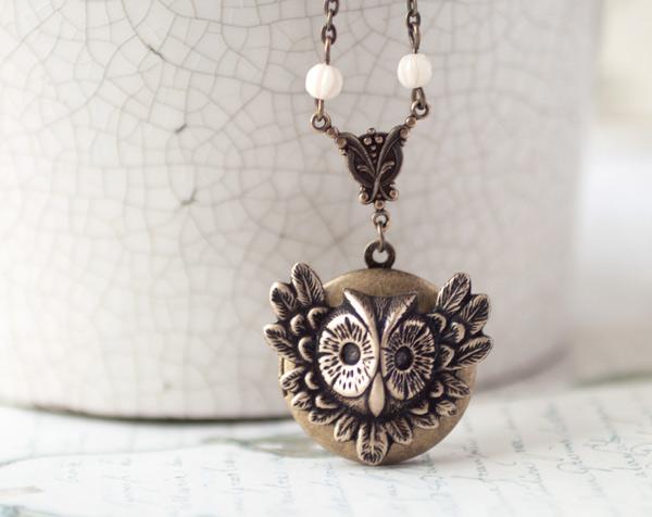 Owl locket by BeautySpotCrafts