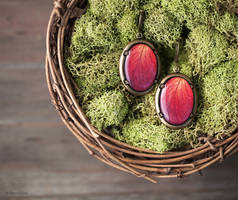 Red Rose oval leverback earrings
